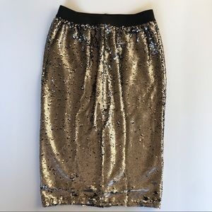 Rails NWT Sequin Grey Two Sided Midi Skirt